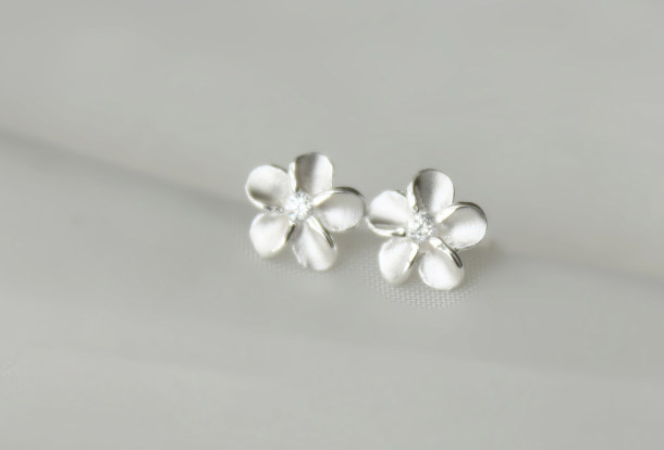 Flowers pretty 925 Sterling silver earrings cute elegant ear stud ear nail