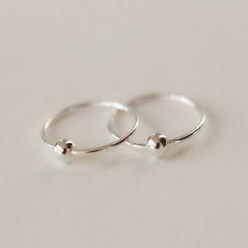 Pretty circle cute silver 925 Sterling earbob earrings elegant ear stud ear nail